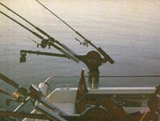 Дополнительные держатели, смонтированные к выносной стреле Cannon Unitroll, позволяют использовать собственное основание даунриггера для крепления трех удилищ.