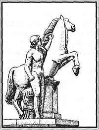 Полидевк и Кастор, прозванные Диоскурами - укротителями коней. Скульптуры Паоло Трискорни - 1810 год.